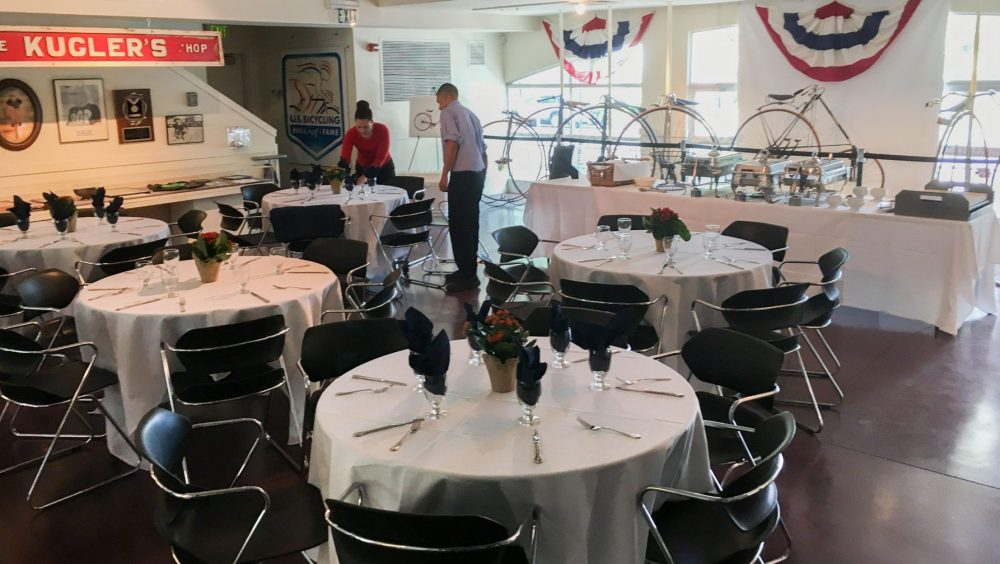 Hall of Fame main room with dining setup